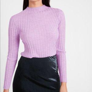 Aritzia Babaton lilac ribbed wool crop sweater